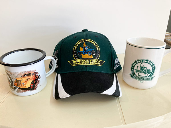 Caps and cup merchandise for Winton's Heritage Truck and Machinery Museum